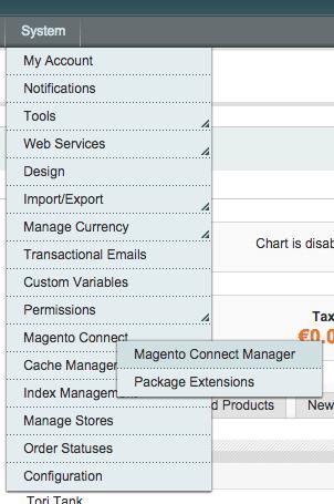 Magento Connect Manager Menu